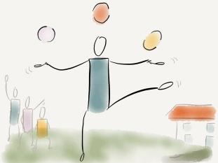 jonglage blau
